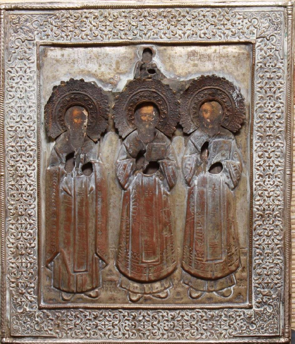 Russian Icon Prophets & Christ, Silver-Plate Oklad