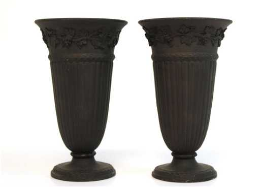 Wedgwood Black Basalt Urn Vases Pair 18th19th C