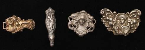 Art Nouveau Silver Buckle, Handle & 2 Brooches, 4
