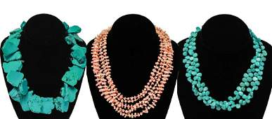 Pink Coral and Turquoise Bead Necklaces, 3