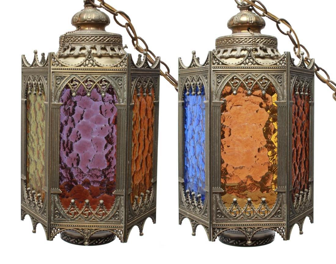 Gothic-Manner Hanging Lanterns, Metal, Pair