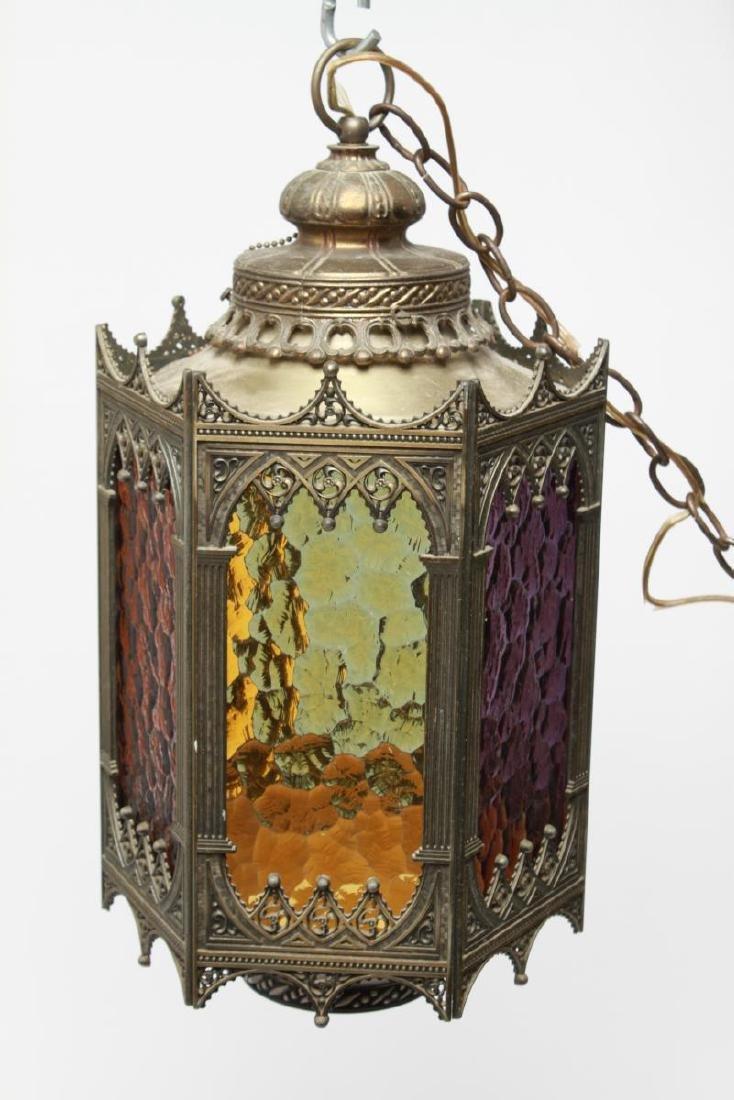 Gothic-Manner Hanging Lanterns, Metal, Pair - 2