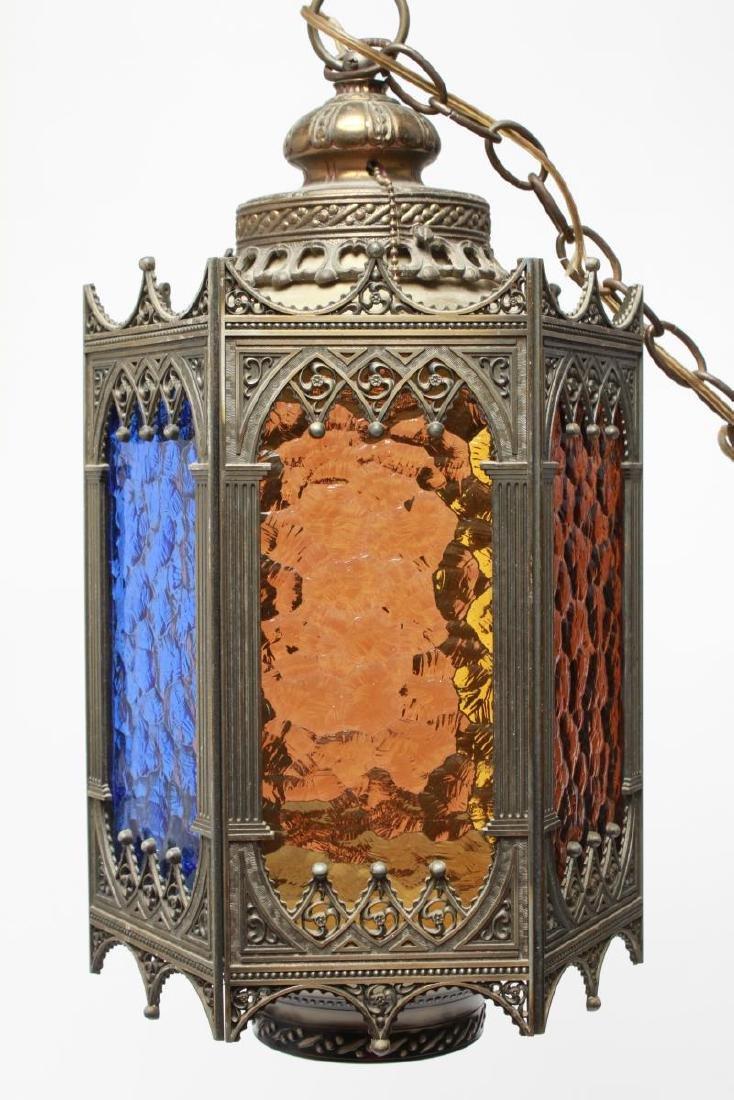 Gothic-Manner Hanging Lanterns, Metal, Pair - 6