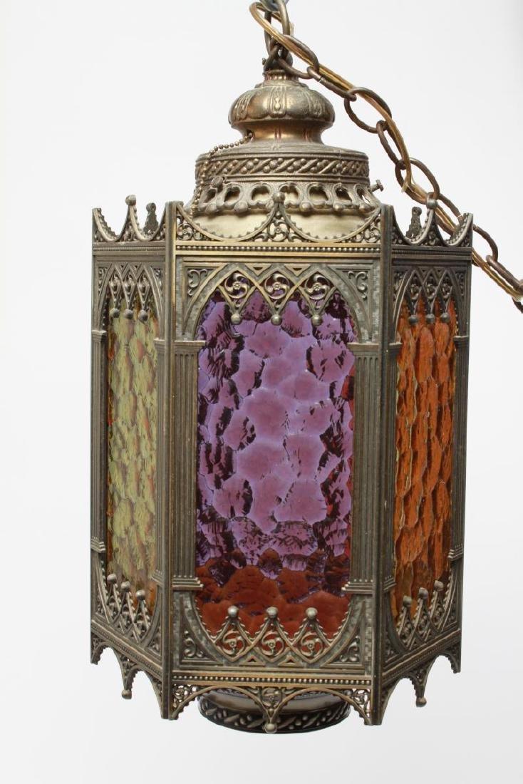 Gothic-Manner Hanging Lanterns, Metal, Pair - 7