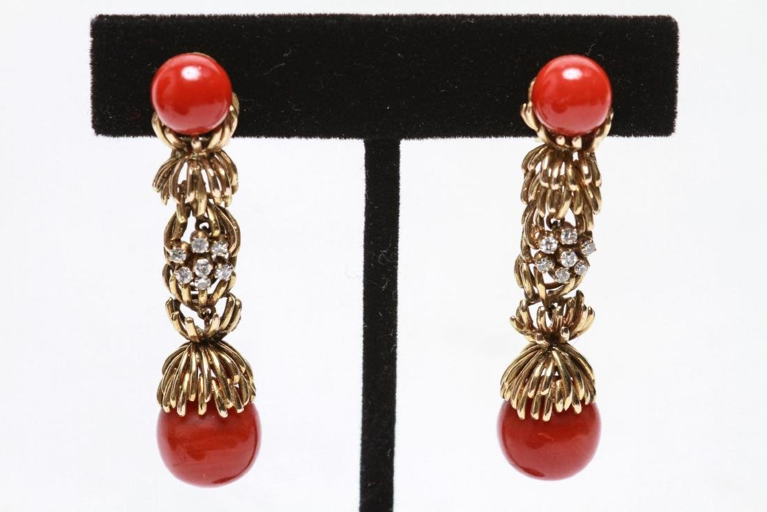 14K Gold Diamond & Coral Dangle Earrings, Pair