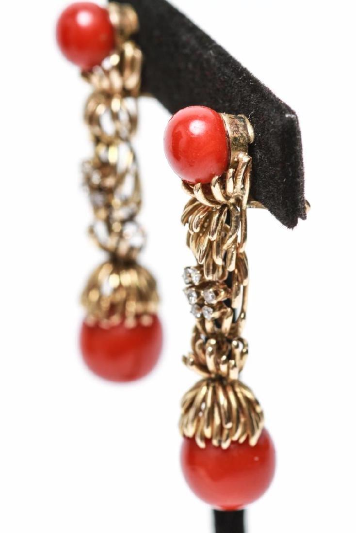 14K Gold Diamond & Coral Dangle Earrings, Pair - 3