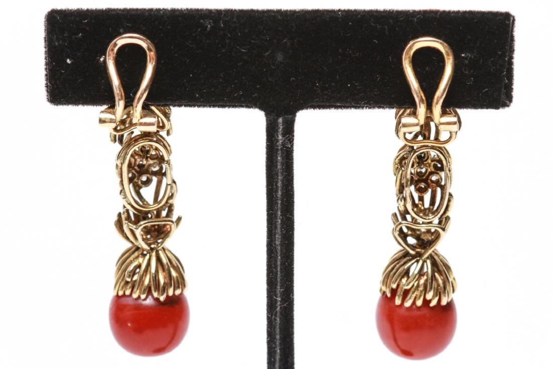 14K Gold Diamond & Coral Dangle Earrings, Pair - 4