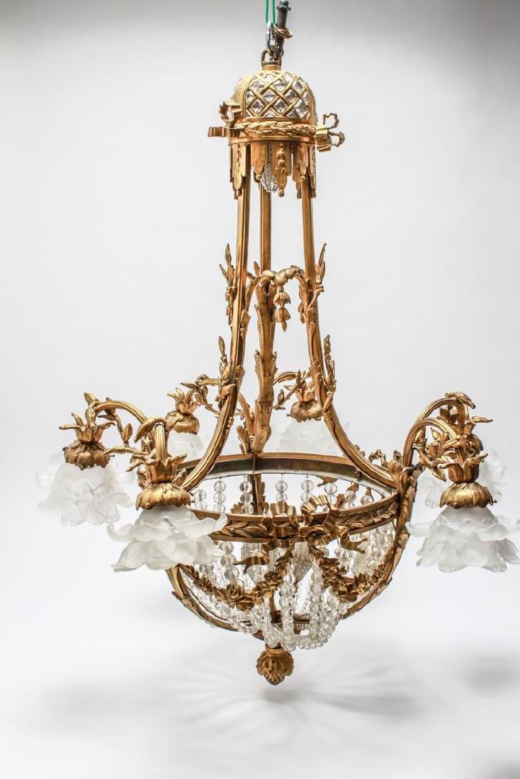 Neoclassical Bronze & Crystal 6-Light Chandelier - 4