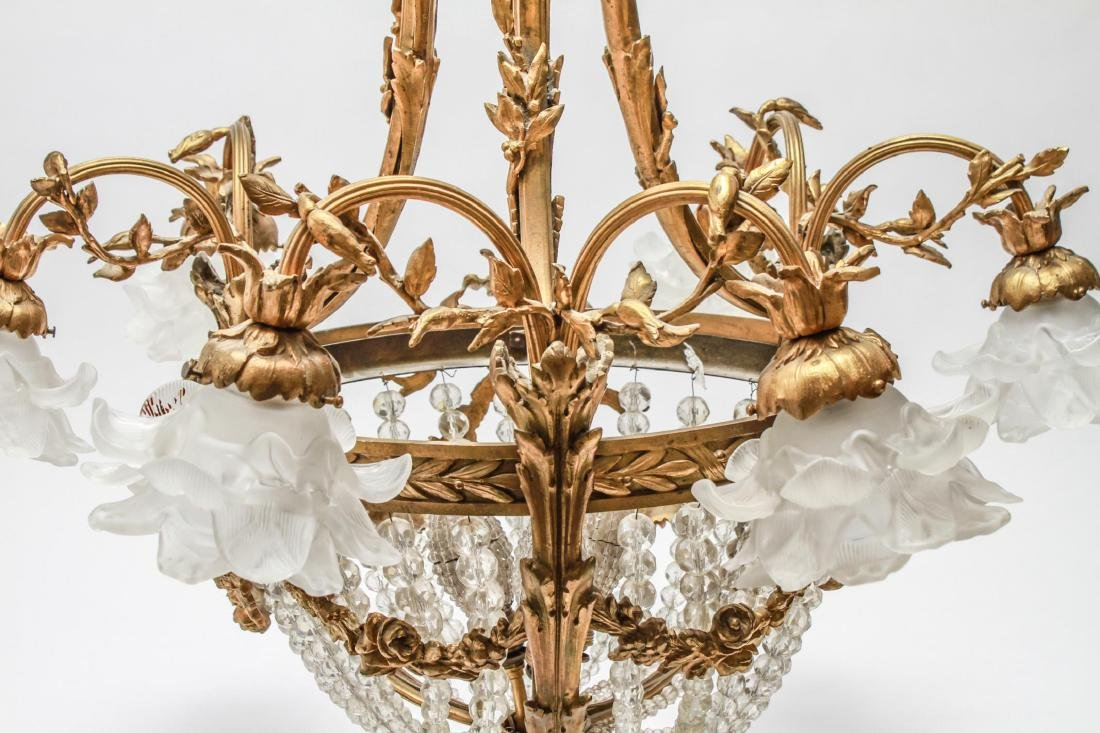 Neoclassical Bronze & Crystal 6-Light Chandelier - 5