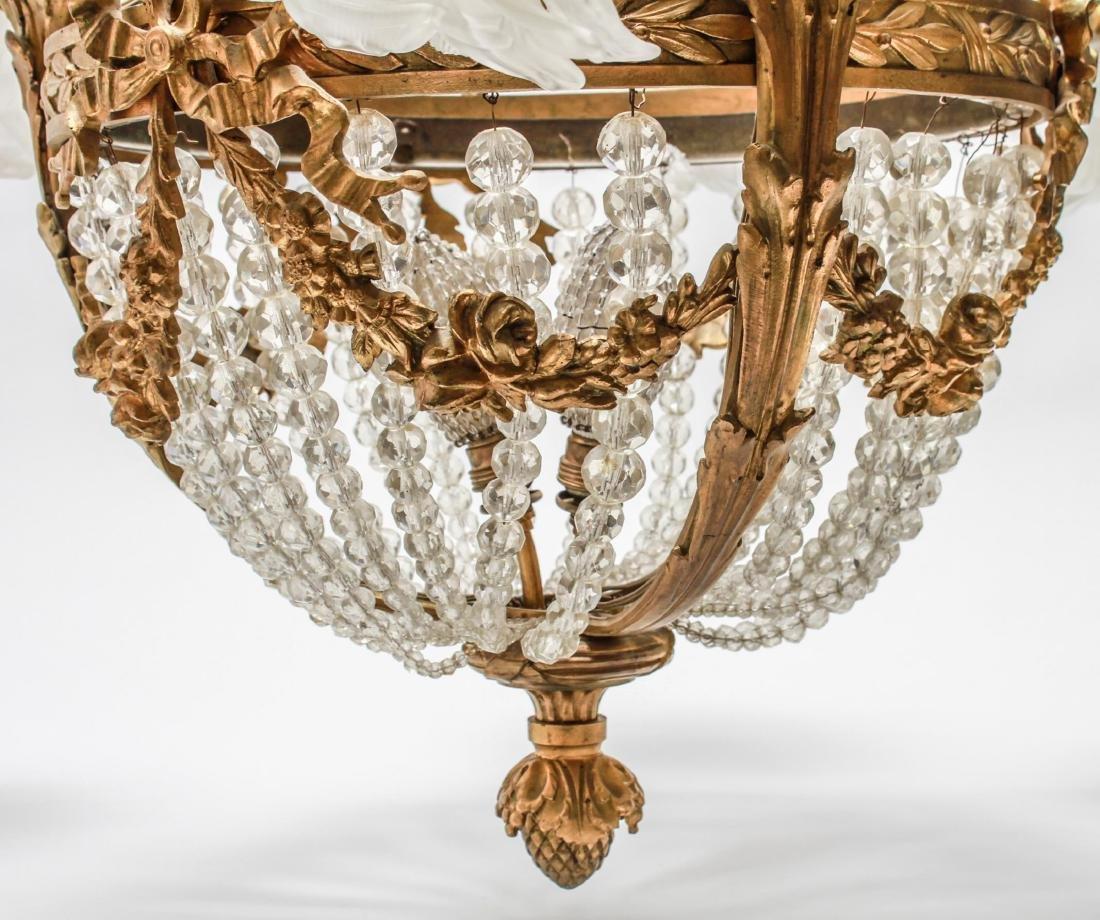 Neoclassical Bronze & Crystal 6-Light Chandelier - 6
