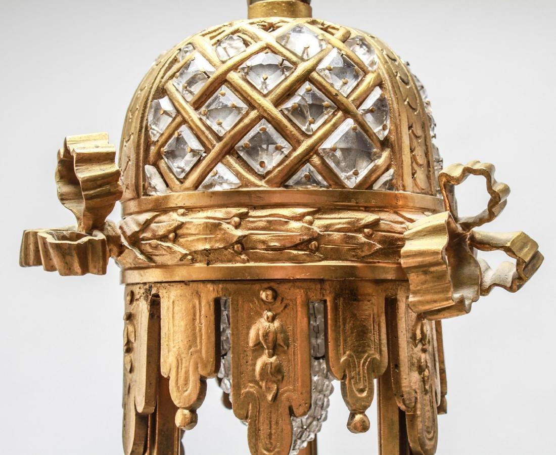 Neoclassical Bronze & Crystal 6-Light Chandelier - 8