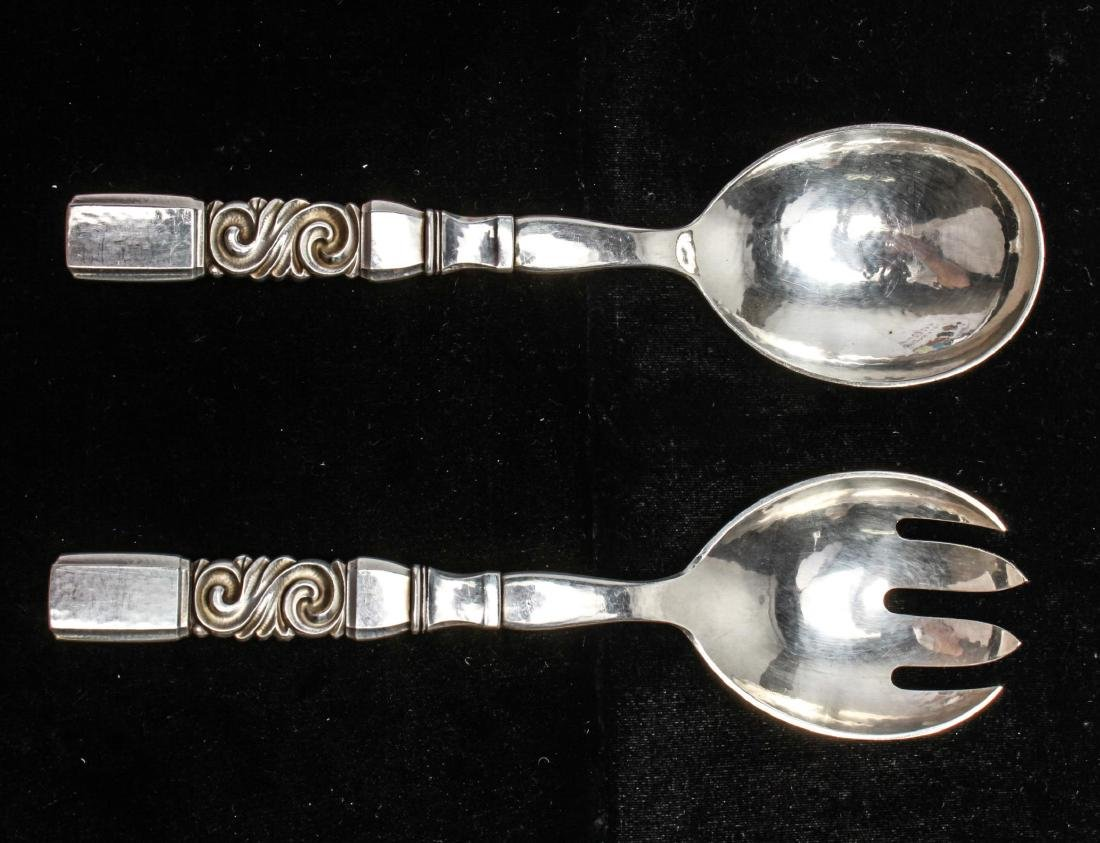 "Georg Jensen Sterling ""Scroll"" Salad Servers, Pair"