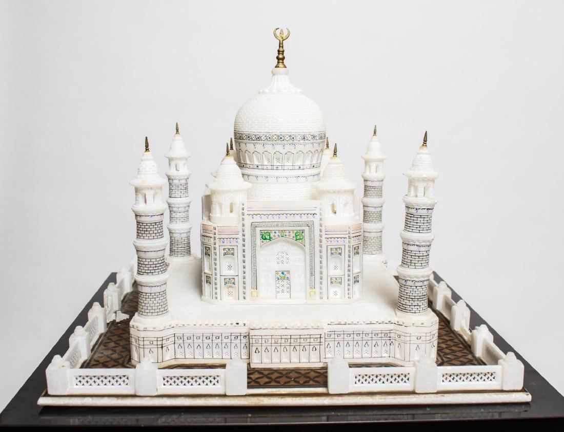 Indian Taj Mahal Hand-Painted Alabaster Model - 7