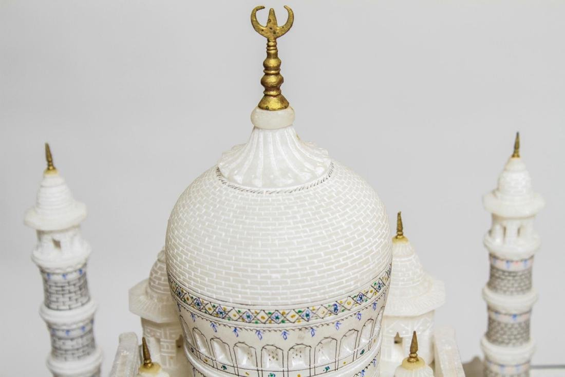 Indian Taj Mahal Hand-Painted Alabaster Model - 8