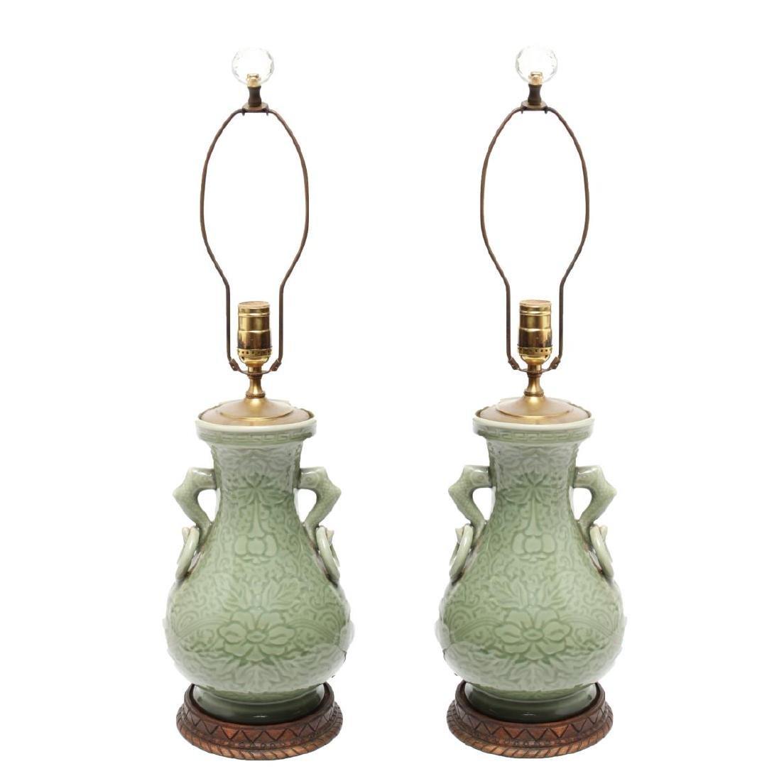 Chinese Longquan Celadon Porcelain Vase Lamps,Pr