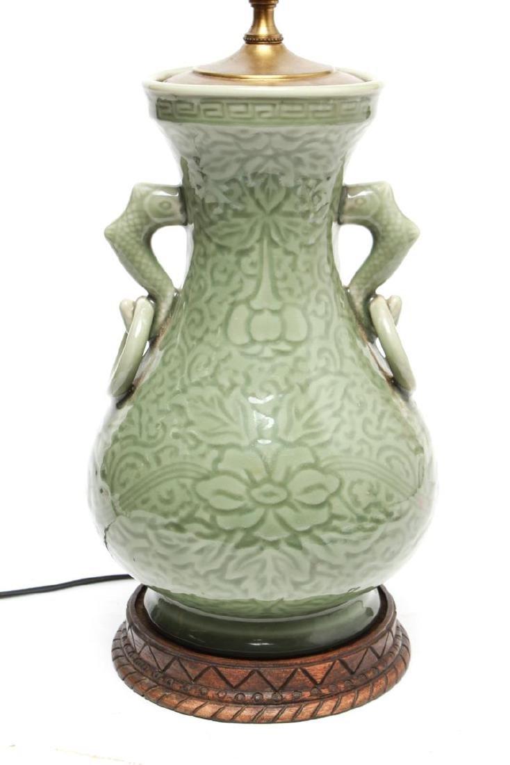 Chinese Longquan Celadon Porcelain Vase Lamps,Pr - 2