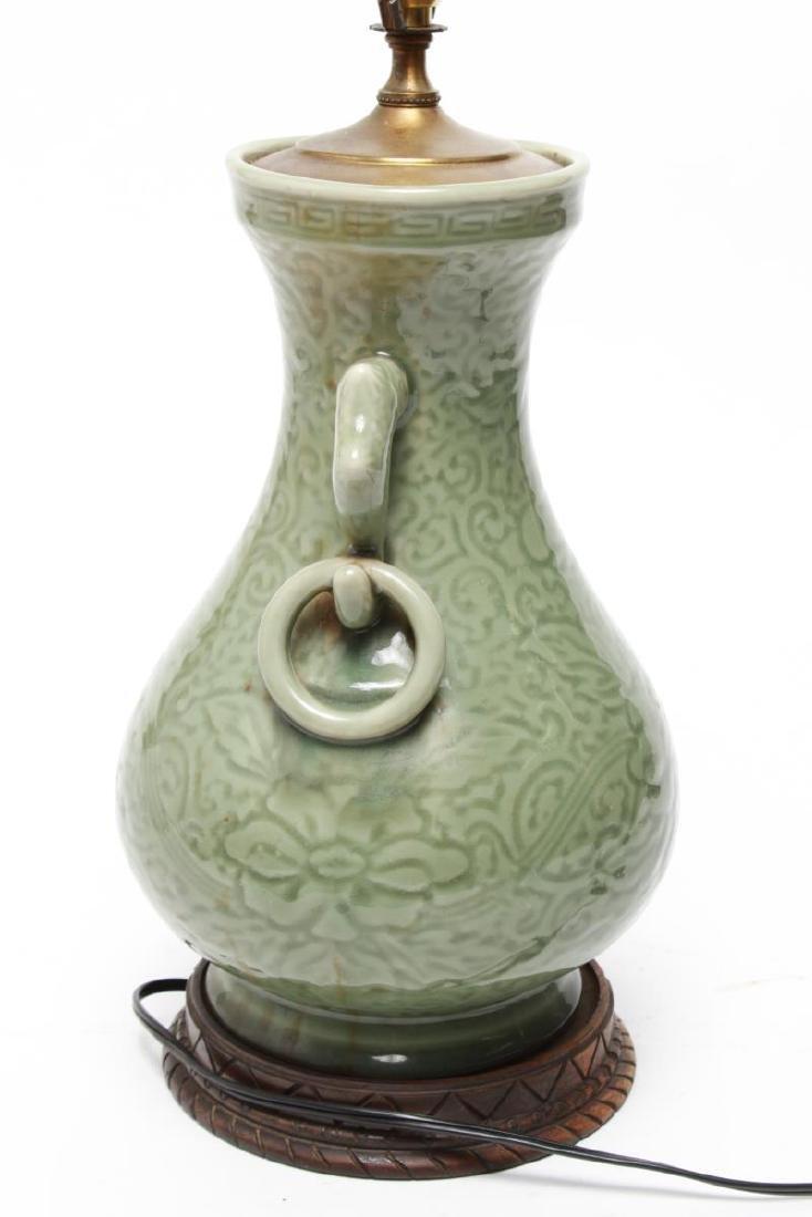 Chinese Longquan Celadon Porcelain Vase Lamps,Pr - 3