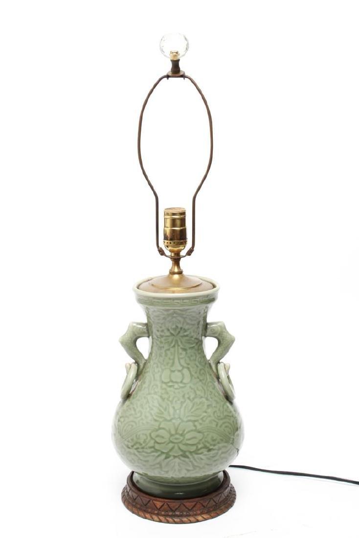 Chinese Longquan Celadon Porcelain Vase Lamps,Pr - 4
