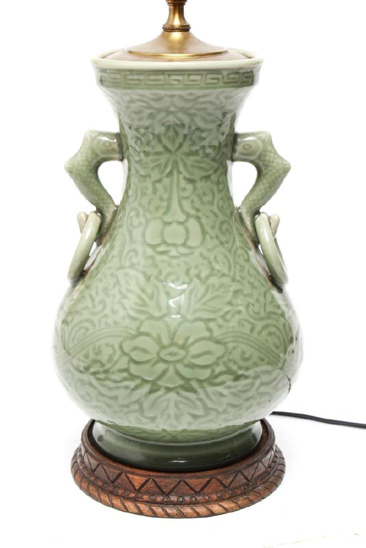 Chinese Longquan Celadon Porcelain Vase Lamps,Pr - 5