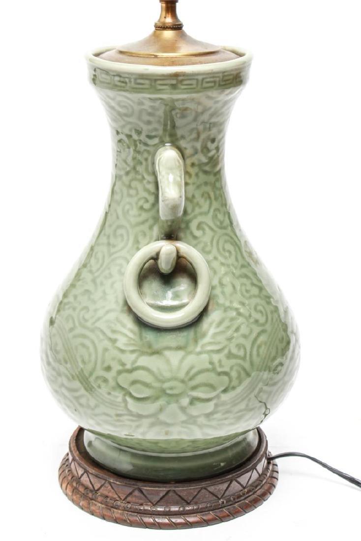 Chinese Longquan Celadon Porcelain Vase Lamps,Pr - 6