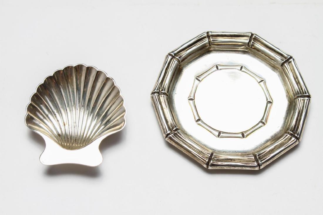 Tiffany & Co Sterling Bamboo Motif Tray & Shell, 2
