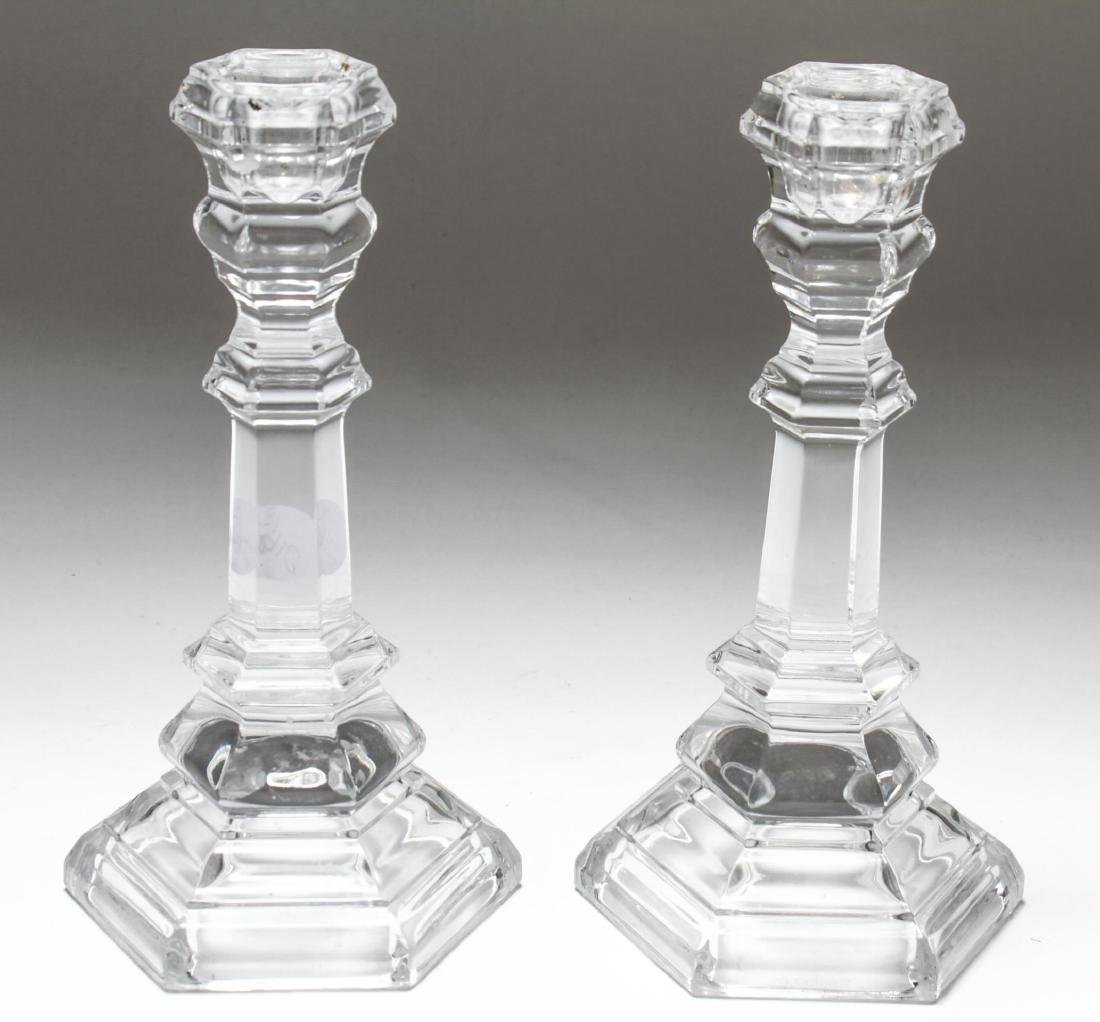 "Tiffany & Co ""Plymouth"" Crystal Candlesticks, Pair"