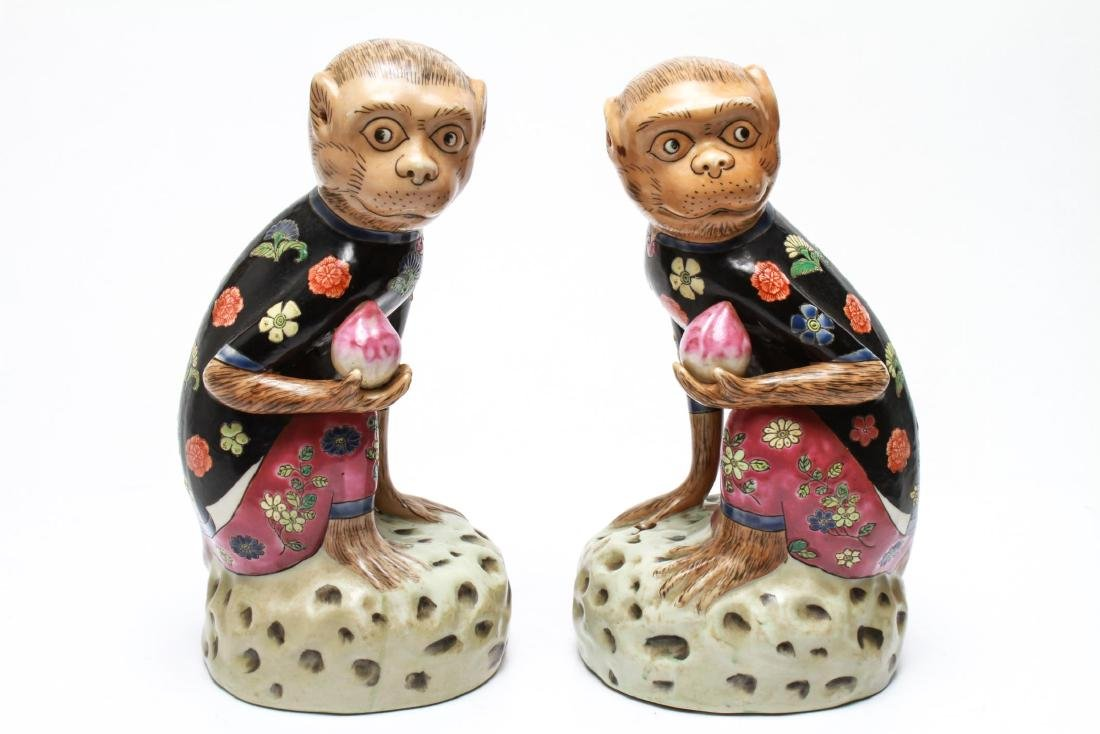 Chinese Porcelain Monkey Holding Peach Figurines 2