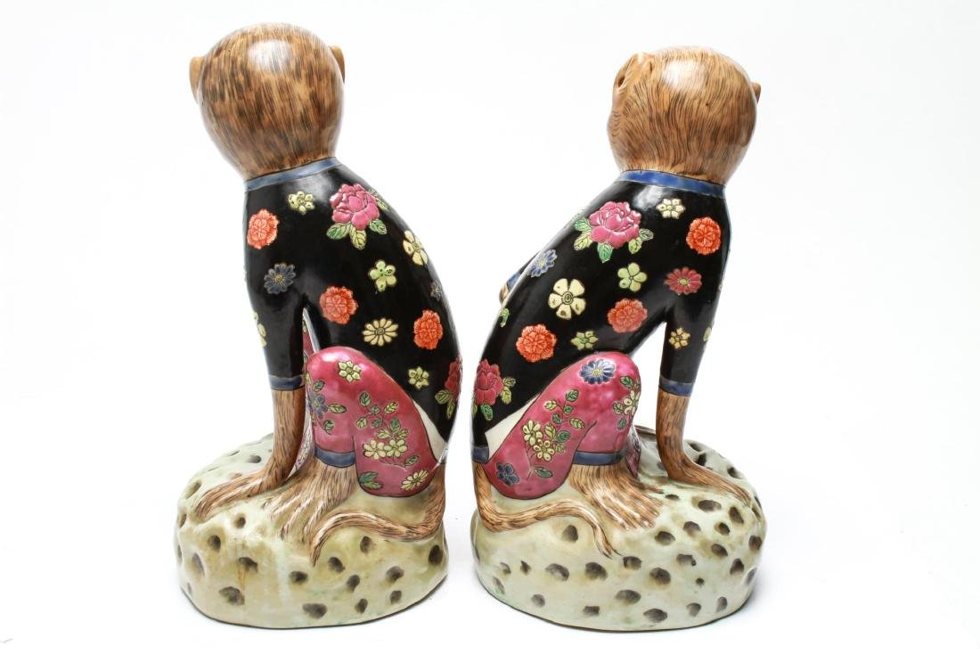 Chinese Porcelain Monkey Holding Peach Figurines 2 - 4