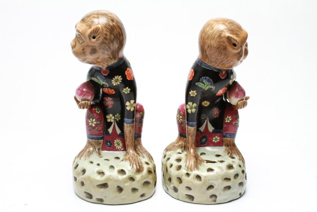 Chinese Porcelain Monkey Holding Peach Figurines 2 - 5