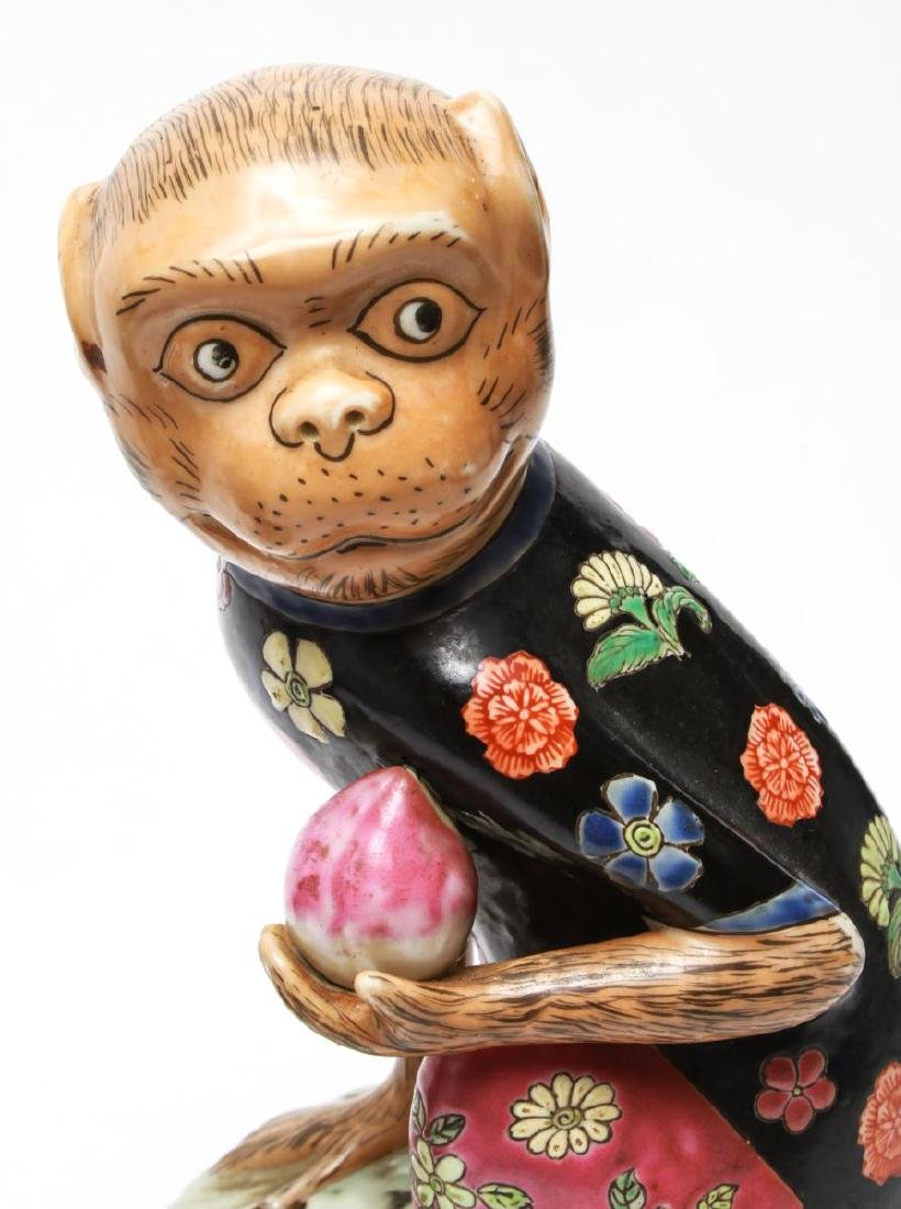 Chinese Porcelain Monkey Holding Peach Figurines 2 - 7