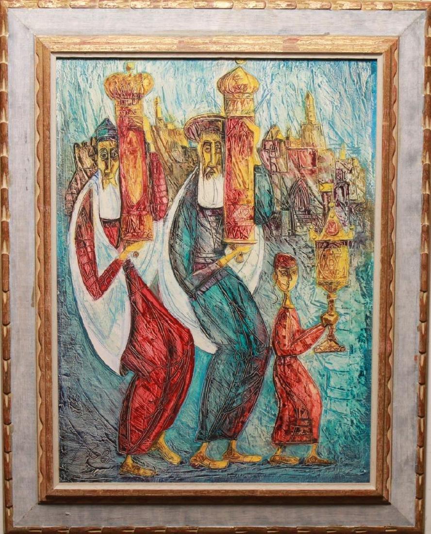 "Judaica Yossi Stern ""Simchat Torah"" Oil on Canvas"