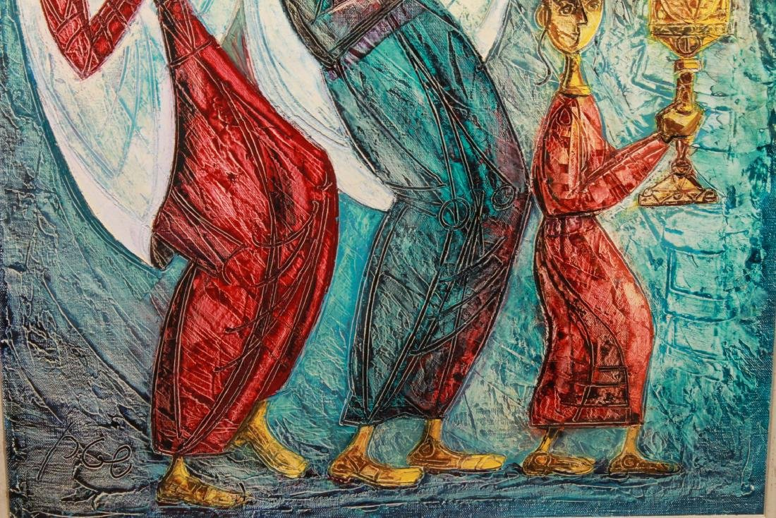"Judaica Yossi Stern ""Simchat Torah"" Oil on Canvas - 2"