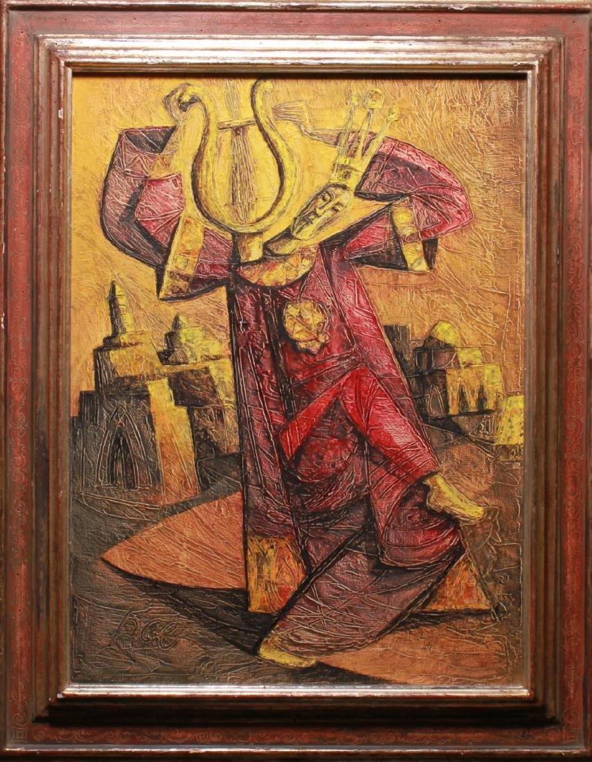 Judaica Yossi Stern King David w Lyre Oil Canvas