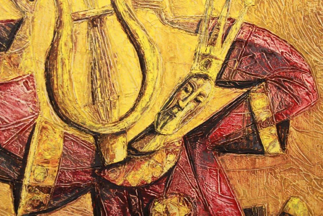 Judaica Yossi Stern King David w Lyre Oil Canvas - 3