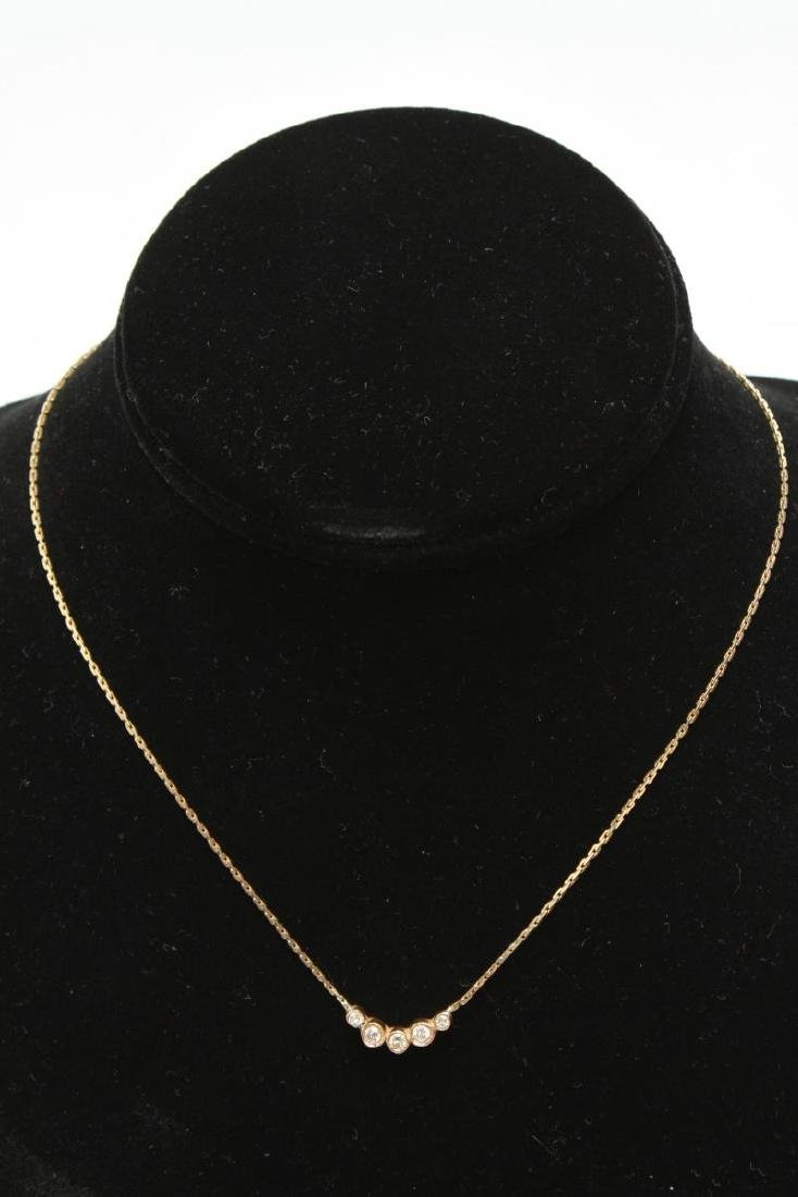 14K Yellow Gold & Diamonds Italian Necklace
