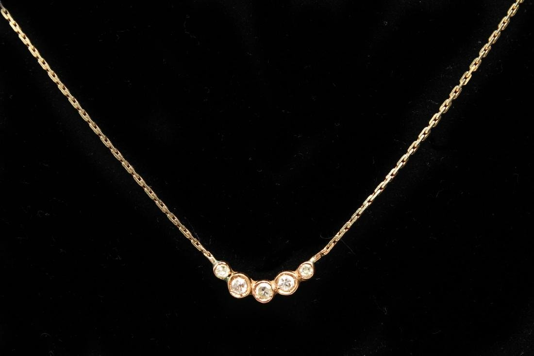 14K Yellow Gold & Diamonds Italian Necklace - 2