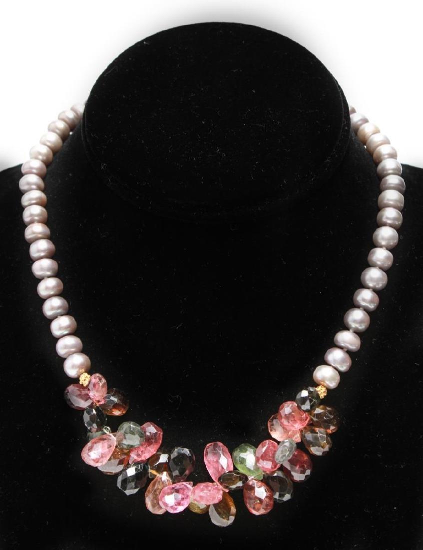 14K Gold Gray Pearls Amethyst & Quartz Necklace