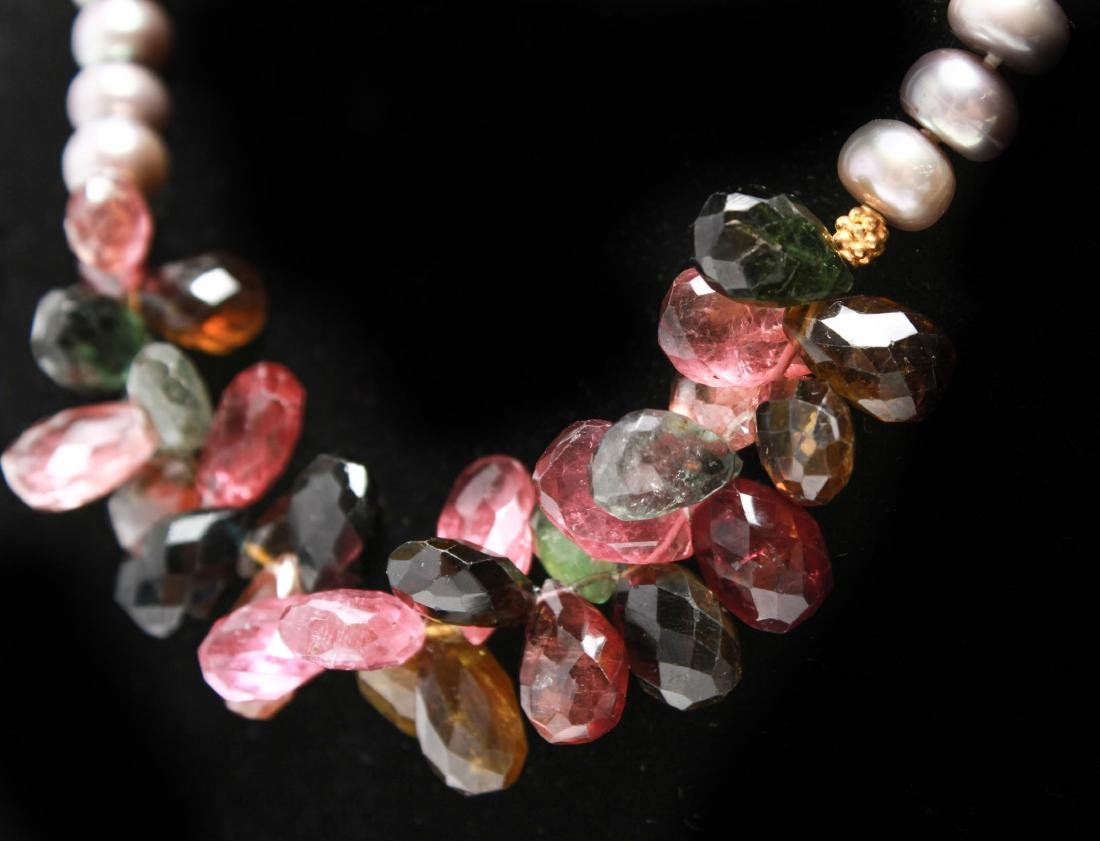 14K Gold Gray Pearls Amethyst & Quartz Necklace - 2
