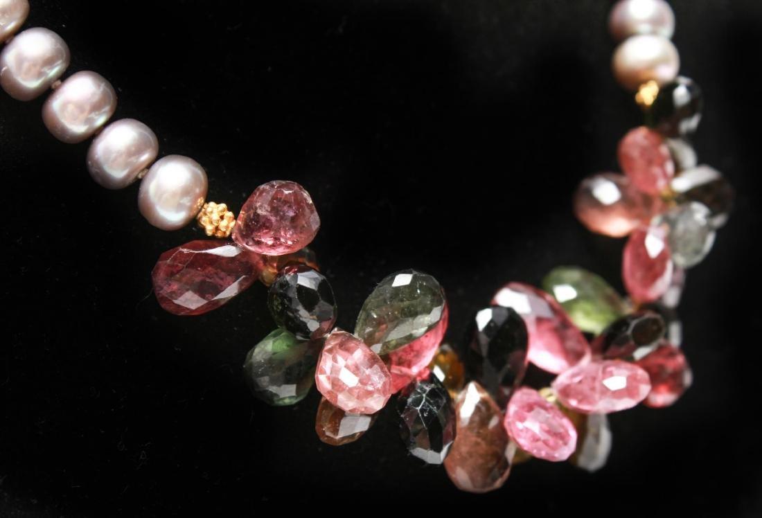 14K Gold Gray Pearls Amethyst & Quartz Necklace - 3