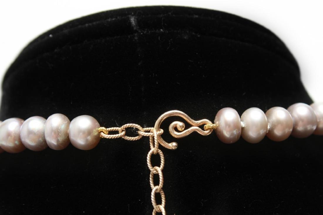 14K Gold Gray Pearls Amethyst & Quartz Necklace - 4