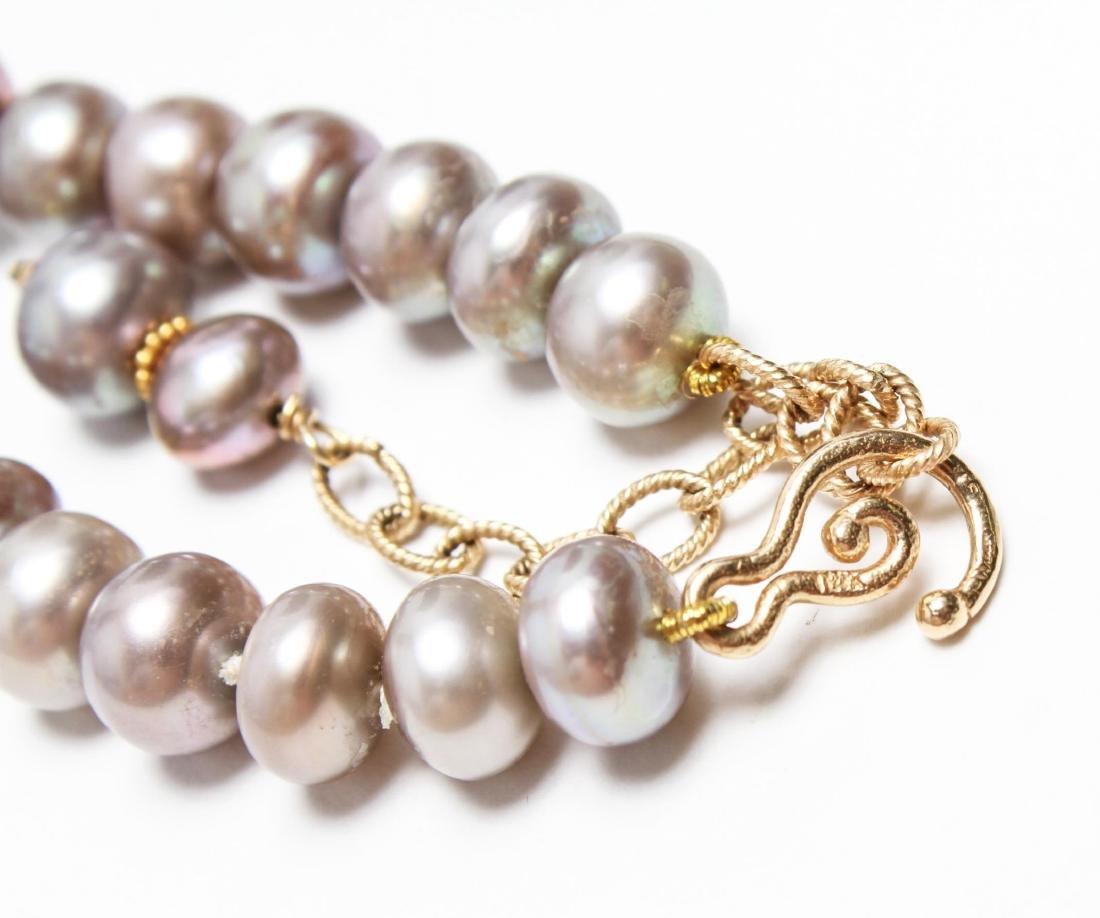 14K Gold Gray Pearls Amethyst & Quartz Necklace - 5