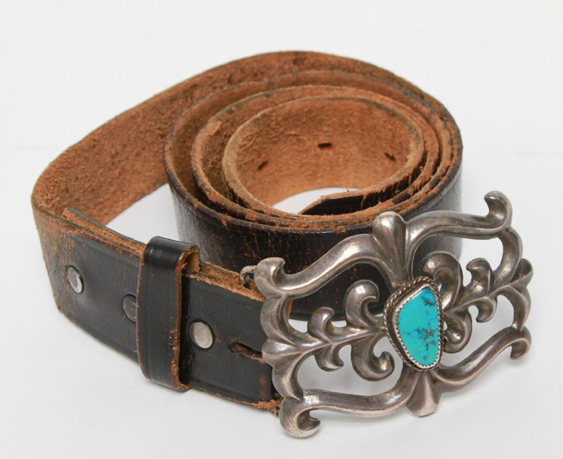 Navajo Native American Indian Belt & Silver Buckle