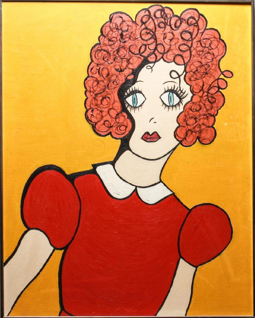 "Outsider Art ""Portrait of a Girl"" Acrylic / Canvas"