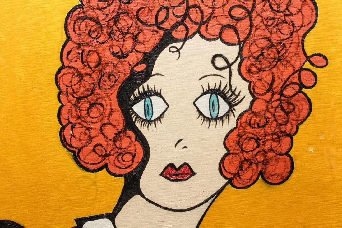 "Outsider Art ""Portrait of a Girl"" Acrylic / Canvas - 2"