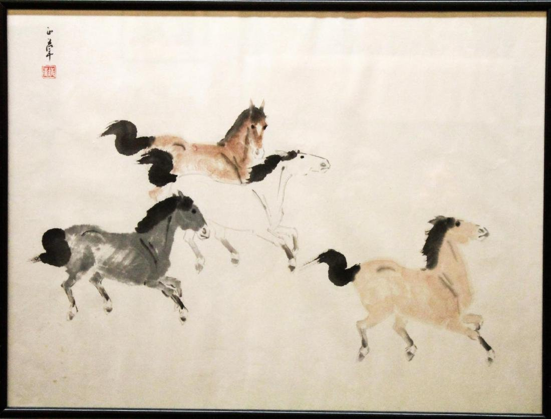 ChineseHorses, Equestrian Scene, Ink on Paper