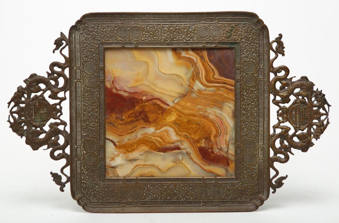 Chinese Qing Bronze & Agate Serving Tray