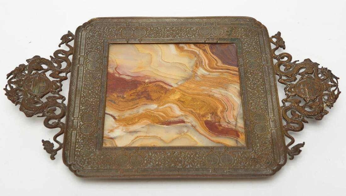 Chinese Qing Bronze & Agate Serving Tray - 2