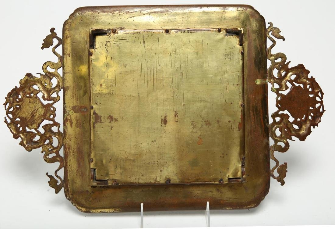 Chinese Qing Bronze & Agate Serving Tray - 5