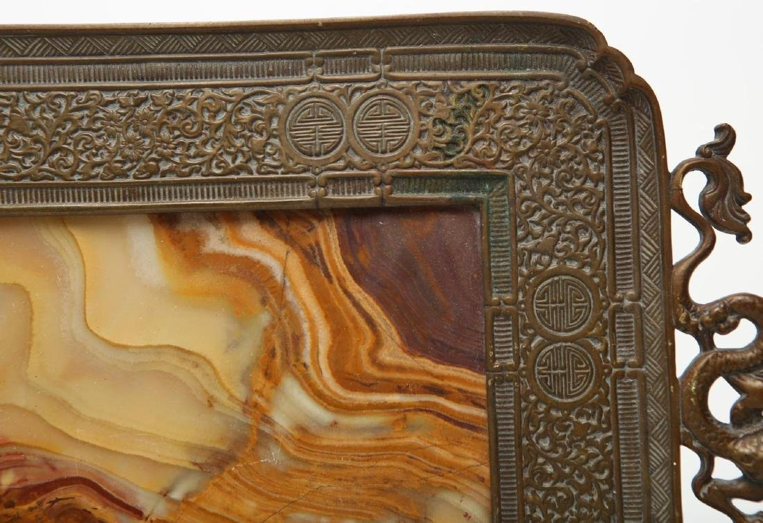 Chinese Qing Bronze & Agate Serving Tray - 6