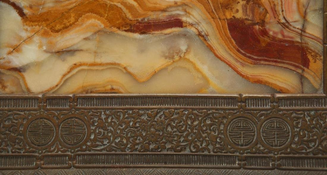 Chinese Qing Bronze & Agate Serving Tray - 7